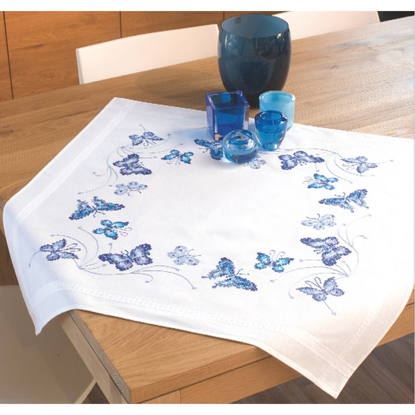 Blue Butterflies Tablecloth Stamped Embroidery Kit