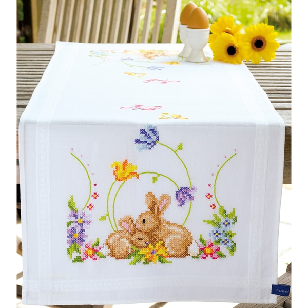 Rabbits Table Runner Stamped Embroidery Kit