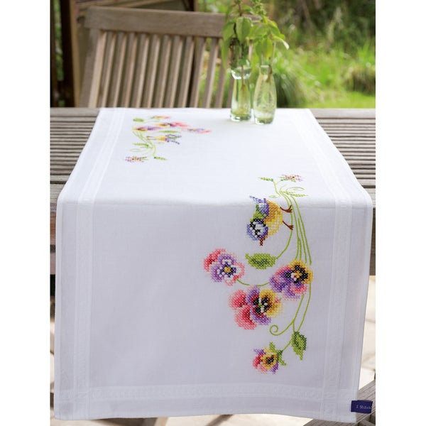 Little Birds And Pansies Table Runner Stamped Embroidery Kit