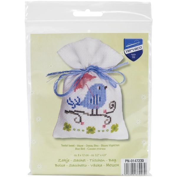 Blue Bird Bag On Aida Counted Cross Stitch Kit