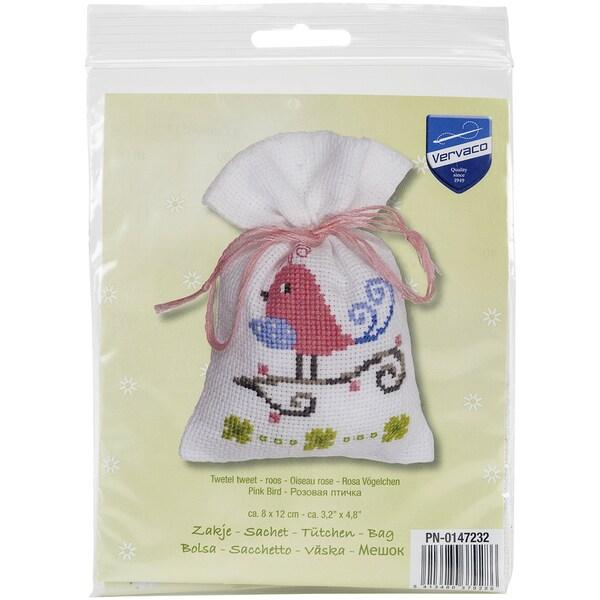 Pink Bird Bag On Aida Counted Cross Stitch Kit