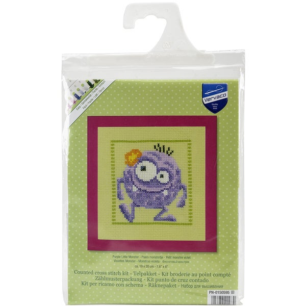 Purple Monster On Aida Counted Cross Stitch Kit