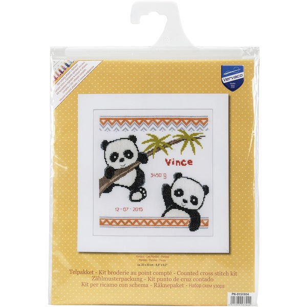 Panda Birth Record On Aida Counted Cross Stitch Kit 16445065
