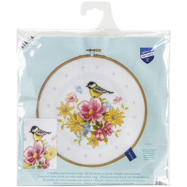 Bird And Flowers On Aida Counted Cross Stitch Kit