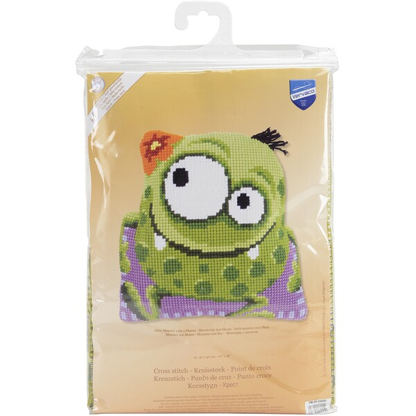 Monster With A Flower Shaped Cushion Cross Stitch Kit