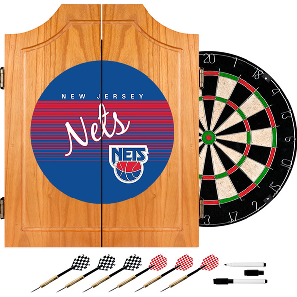 New Jersey Nets Hardwood Classics NBA Wood Dart Cabinet