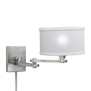 Transitional 1-light Chrome Swing Arm Pin-up Plug-in Wall Lamp