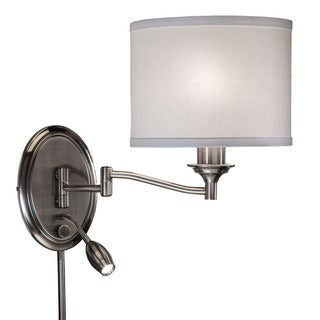 Transitional 2-light Antique Pewter Swing Arm Pin-up Plug-in Wall Lamp