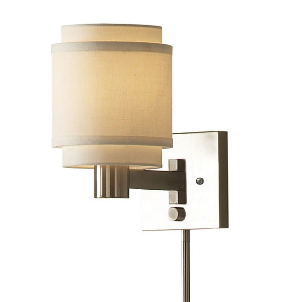 transitional 1 light brushed nickel swing arm pin up plug in wall lamp. Black Bedroom Furniture Sets. Home Design Ideas