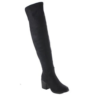 Beston Ba29 Women's Side Zip Stacked Chunky Heel Plain Slouch Over-the-knee Boot