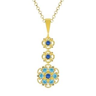 Lucia Costin Silver Blue Light Blue Crystal Pendant
