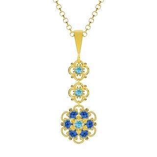 Lucia Costin Silver Light Blue Blue Crystal Pendant
