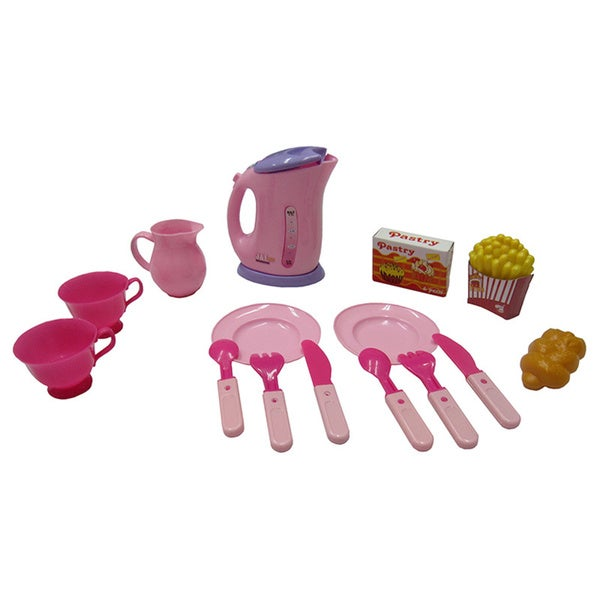 Tea Set 15 Pcs Tea Set Series (pink electronic looking water dispenser)