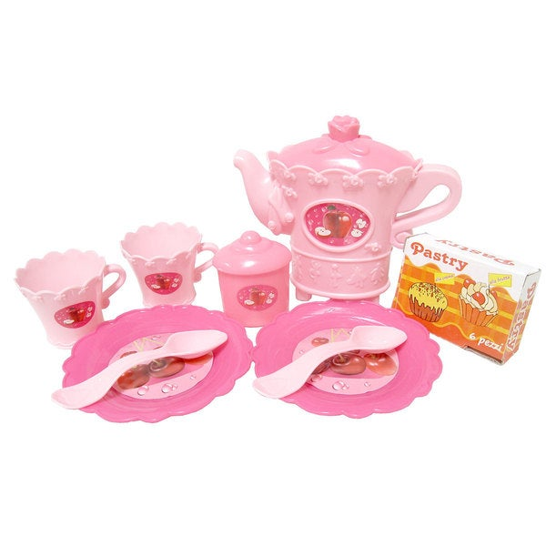 11-Piece Tea Party Serving Set with Cake (Pink)