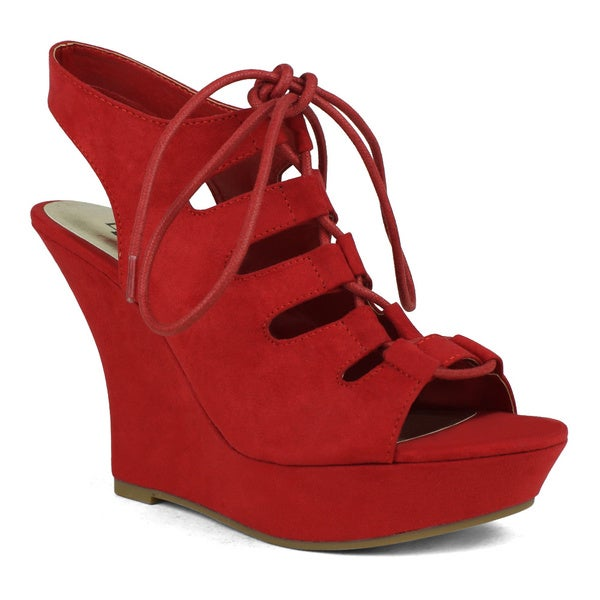 Fahrenheit Sophia-08 Lace-up Women's Wedge Sandal