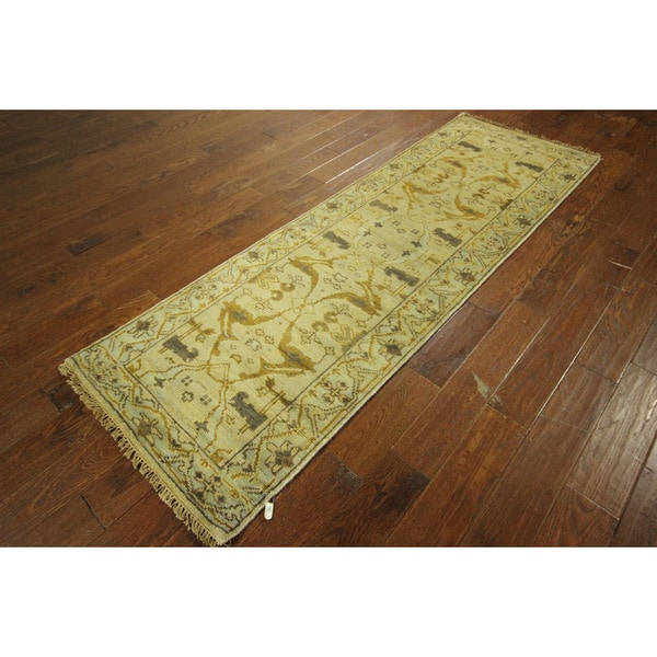 Arts/ Crafts Ivory Oushak Hand-knotted Wool Runner Oriental Rug (3' x 8')