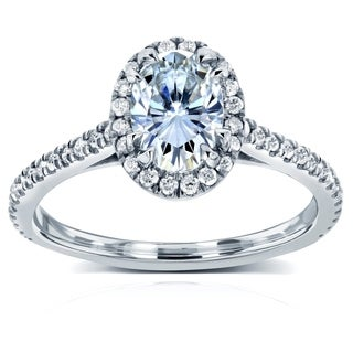 Annello 14k White Gold Oval Moissanite and 1/4ct TDW Diamond Halo Engagement Ring (G-H, I1-I2)
