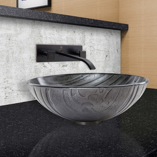 VIGO Interspace Glass Vessel Sink and Titus Faucet Set in Antique Rubbed Bronze