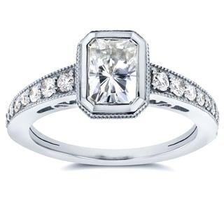 Annello 14k White Gold Radiant Forever Brilliant Moissanite Bezel and 1/4ct TDW Diamond Engagement Ring (G-H, I1-I2)