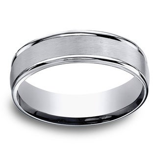 Titanium Men's Satin Finish Center and High-polish Rounded Edge 6mm Comfort Fit Ring