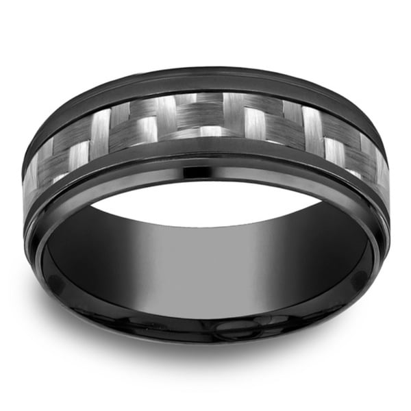 Titanium Men's 9mm Black Comfort Fit Grey Carbon Fiber Center Ring