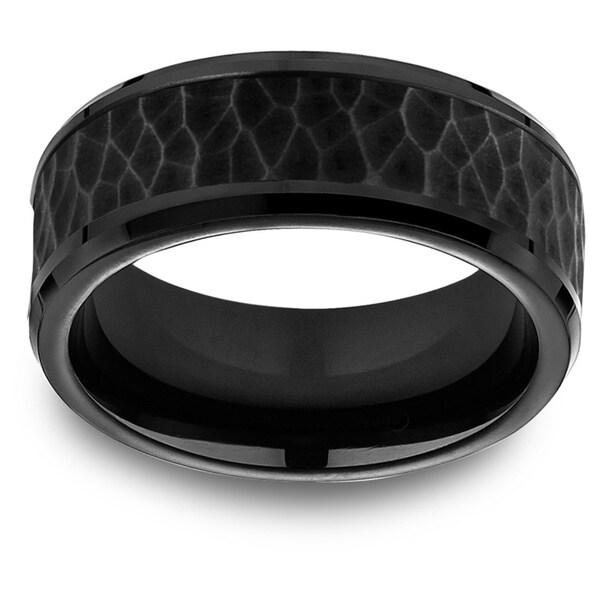 Black Titanium Men's Hammered Black Cobalt Center 8mm Comfort Fit Ring