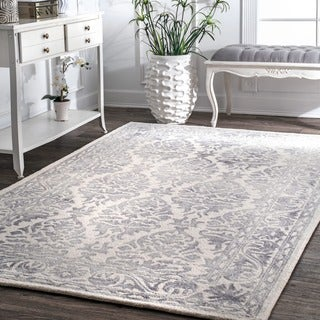 nuLOOM Handmade Dip Dyed Damask Wool Light Grey Rug (8'6 x 11'6)