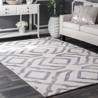 nuLOOM Contemporary Handmade Abstract Wool Light Grey Rug (8'6 x 11'6)