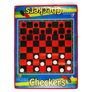 Dimple - 2 Player Life Size Checkers Mat/Board with Big Black & White Checker Pieces