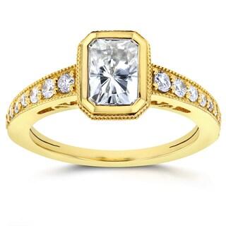 Annello 14k Yellow Gold Radiant Forever Brilliant Moissanite Bezel and 1/4ct TDW Diamond Engagement Ring (G-H, I1-I2)