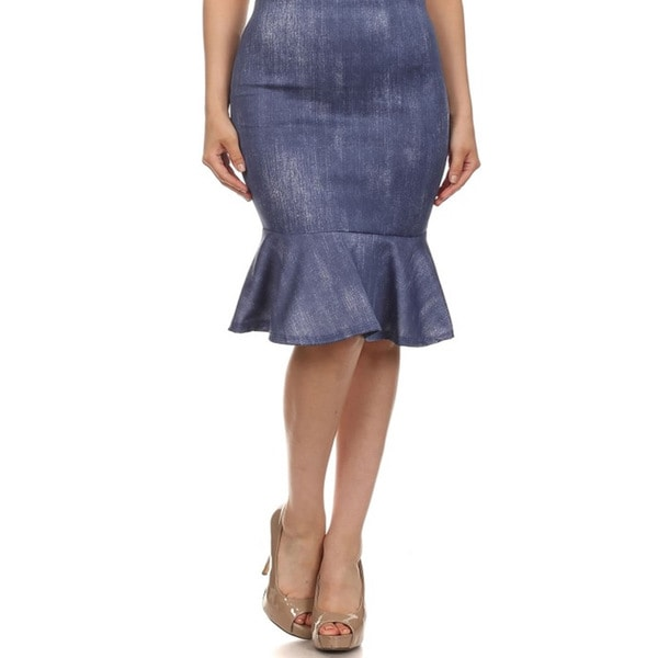 Women's Plus Size Fit and Flare Denim Skirt