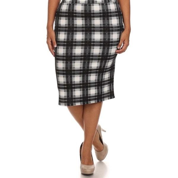 Women's Plus Size High Waisted Plaid Print Skirt