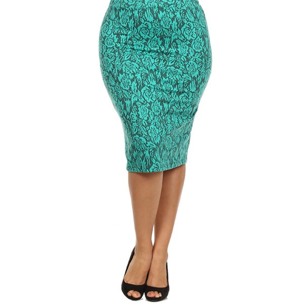 Women's Plus Size Skirt with Rose Print