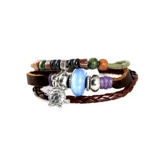 Turtle Bead Leather Zen Leather Bracelet with Fully Adjustable Drawstring