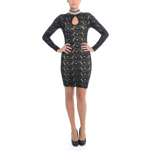 Women's Keyhole Stretch Lace Jeweled Collar Dress