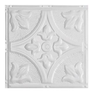 Great Lakes Tin Jamestown Gloss White 2-foot x 2-foot Nail-up Ceiling Tile (Carton of 5)