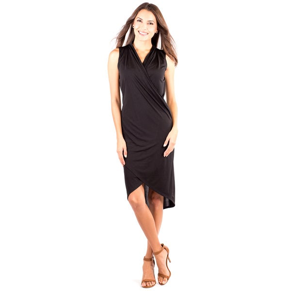Women's Sleek Little Black V-Neck Dress