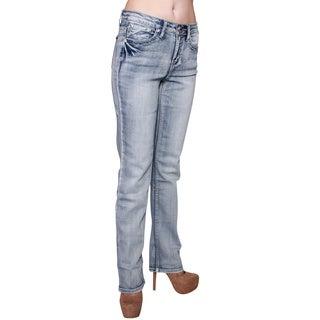 D'mode Women's Dm15005 Mid Rise Boot Cut Jeans