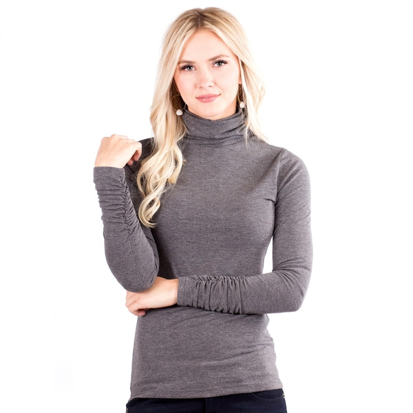 Women's Ruched Long Sleeve Turtle Neck