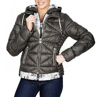Betsey Johnson Grey Hooded Marshmallow Jacket