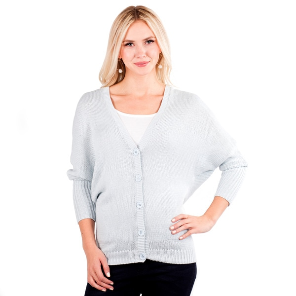 Women's Thick Knit V-neck Dolman Sleeve Cardigan
