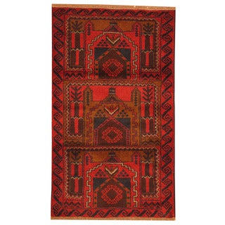 Herat Oriental Afghan Hand-knotted Tribal Balouchi Red/ Navy Wool Rug (3' x 4'7)