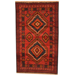 Herat Oriental Afghan Hand-knotted Tribal Balouchi Red/ Brown Wool Rug (2'10 x 4'9)