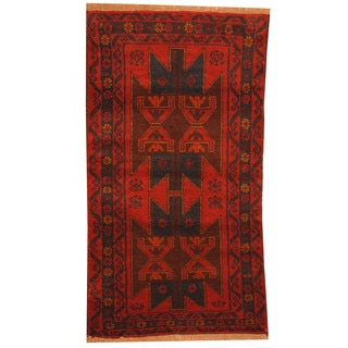 Herat Oriental Afghan Hand-knotted Tribal Balouchi Red/ Chocolate Brown Wool Rug (2'10 x 4'7)
