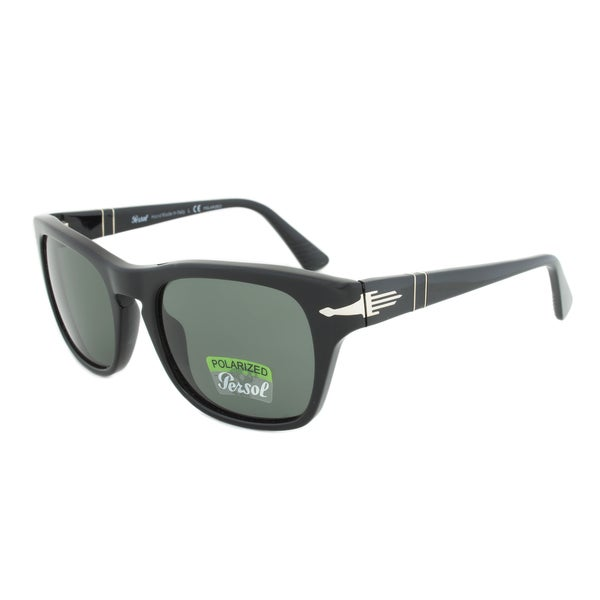 Persol PO3072S 95/58 Polarized Sunglasses in Black Frame and Green Grey Polarized Lenses