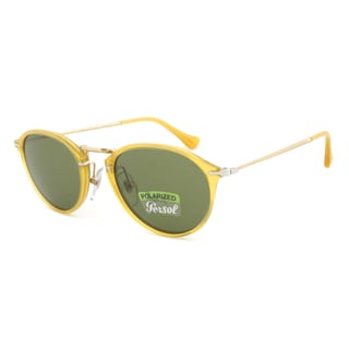 Persol PO3046S 204/P1 Vintage Celebration Polarized Sunglasses in Yellow Frame and Green Lenses