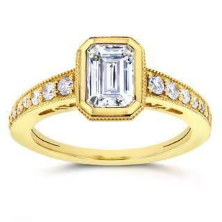 Annello 14k Yellow Gold Emerald Forever Brilliant Moissanite Bezel and 1/4ct TDW Diamond Engagement Ring (G-H, I1-I2)