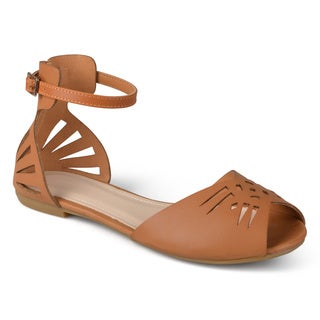 Journee Collection Women's 'Ida' Cutout Ankle Strap Flats