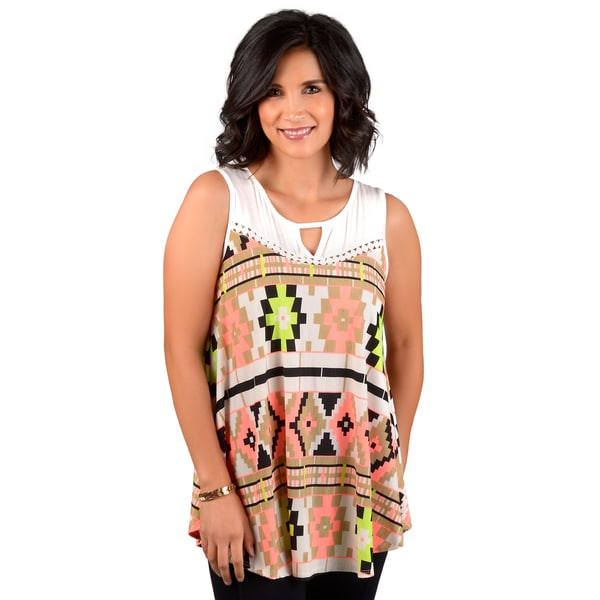 Timeless Comfort by Journee Women's Aztec Print Sleeveless Tunic Top