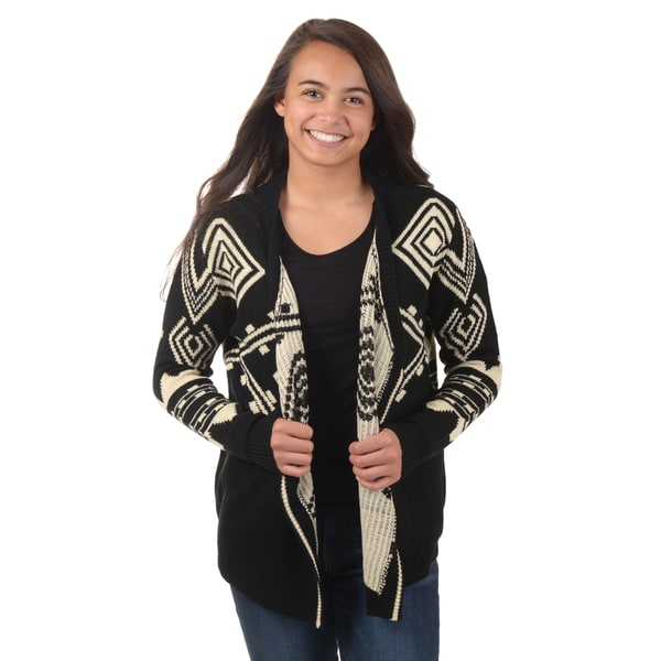 Journee Collection Junior's Aztec Knit Cardigan